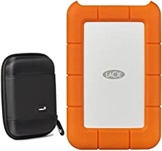 Lacie Rugged 2TB External Portable Hard Drive - USB 3.0, USB-C – STFR2000800 /STFR2000400 - with Ivation Compact Portable Hard Drive Case (Small)
