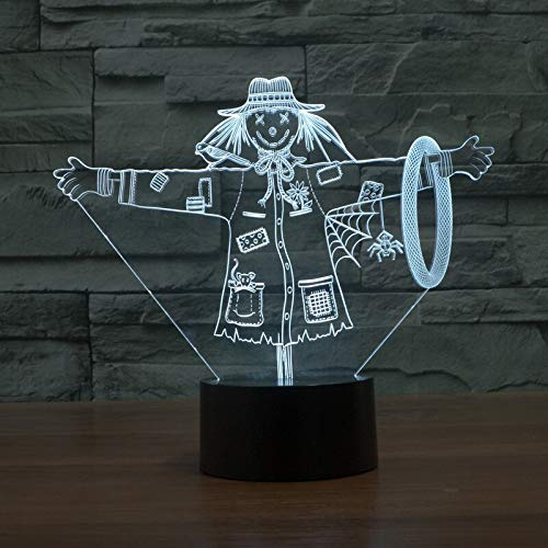 LIkaxyd 3D Night Light for Kids Scarecrow Optical Illusion Lamp 7 Colors Dimmable USB Powered Touch Control for Boys Girls Kids Gifts