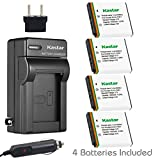 Kastar Battery (4-Pack) and Charger Kit for Kodak KLIC-7001 and Kodak EasyShare M320, M340, M341, M753 Zoom, M763, M853 Zoom, M863, M893 is, M1063, M1073 is, V550, V570, V610, V705, V750 Cameras