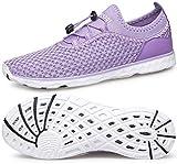 DOUSSPRT Womens Water Shoes Quick Drying Sports Aqua Walking Beach Sneaker for Hiking Diving Boating Kayaking Swimming Surf Purple US Size 8