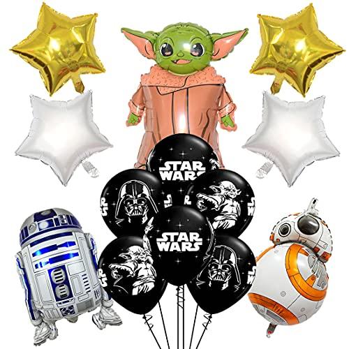 HONGECB Star Ballons Wars Geburtstag Dekoration Set, StarWars Folienballon Yoda-Thema Birthday Decoration Kit, Party Luftballons, Deko für Kindergeburtstag Party, für Kinder Baby Shower Geburtstag