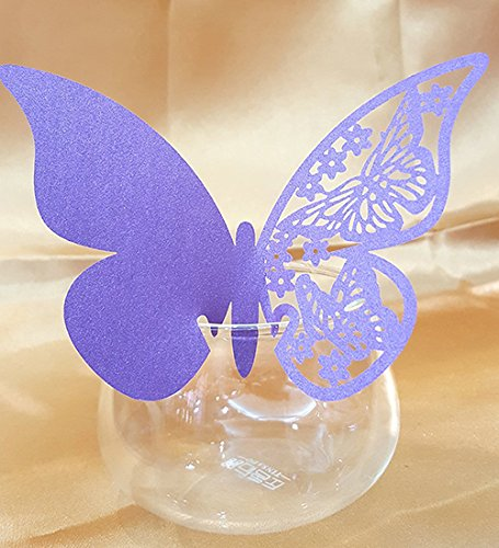 50pcs Butterfly Wedding Party Table Number Name Paper Place Cards Wine Glass Cup Decoration Wall Decals Sticker For Wedding Party Favor [Purple]