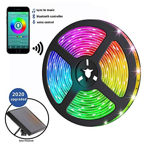 Solar Bluetooth LED Streifen - RGB-Farbwechsel-Beleuchtungsstreifen mit Bluetooth-Smartphone-App-Steuerung und Musiksynchronisierung, Mehrfarbiges Lichtband für Garten Dekoration [Energieklasse A+++]