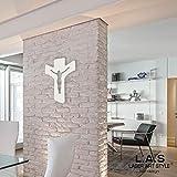 L:A:S Laser Art Style - Crucifijo de Pared Moderno, Madera, Crema, 30 x 40 cm