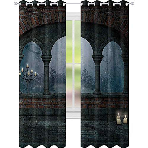 Window Treatments Curtains, Medieval Castle at Night with Old Arch and Candles Middle Age Misty Image, W52 x L95 Room Darkening Curtain for Living Room, Blue Grey Red