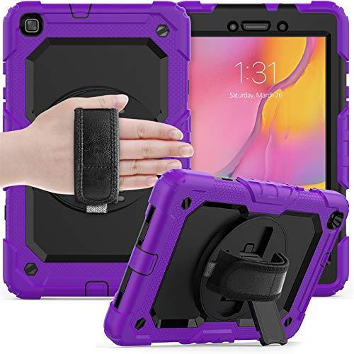 para Funda Samsung Galaxy Tab a 8.0 2019,SM-T295/T290, Cubierta Protectora Completa a Prueba de Golpes de Tres Capa con Correa y Soporte de Mano,Purple