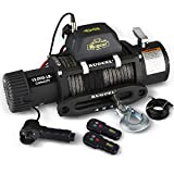 RUGCEL 12000lb Waterproof IP68 Electric Synthetic Rope Winch with Hawse Fairlead, Wired Handle and 2 Wireless Remote