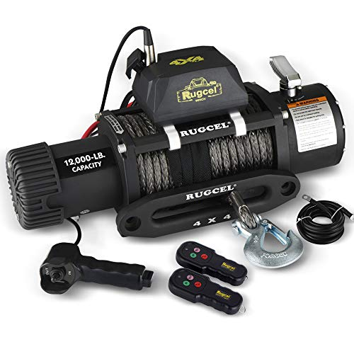 RUGCEL 12000lb Waterproof Electric Synthetic Rope Winch with Hawse Fairlead, Wired Handle and 2 Wireless Remote
