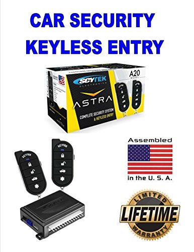 Car Alarm Security System, Keyless Entry 2 Remote Controls Scytek A20