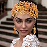 Azaleas Tocado corto para el pelo de novia, para el pelo, para boda, dorado (HP371)