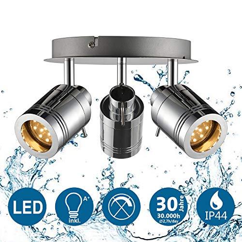 IMPTS LED Deckenleuchte Baddeckenleuchte Bad Deckenlampe Badezimmerleuchte inkl. 3x 3W Leuchtmittel IP44 GU10 230V Chrome Warmweiß für Bad Badezimmer