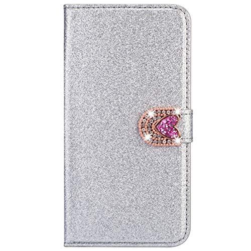 Blllue Funda de cartera compatible con Samsung A21s, Glitter Bling Love Diamond Buckle Pu Funda de cuero Flip teléfono para Samsung Galaxy A21s - Plata