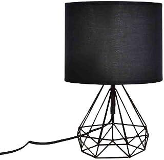 Lámpara de mesa con cable geométrico, 19 x 35,5 cm, color negro