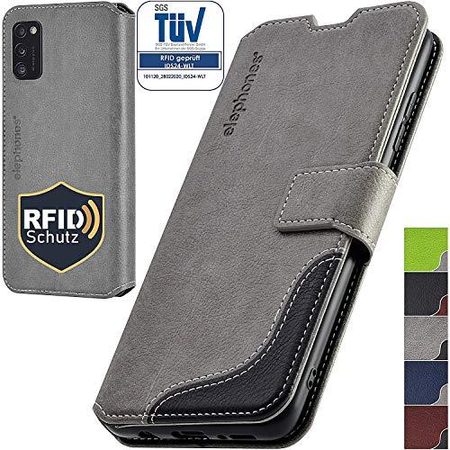 elephones Handyhülle für Samsung Galaxy A41 Hülle PU Leder - Kompatibel mit Samsung Galaxy A41 Schutzhülle Handytasche Handy-Hüllen Flip-Case Grau