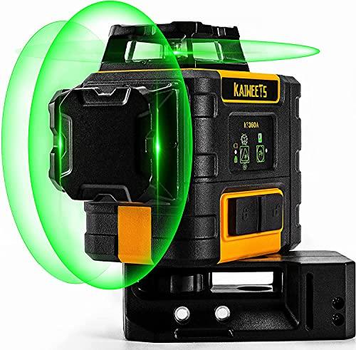 KAIWEETS KT360A 3D Nivel Láser Verde, 3X360° Nivel Láser Autonivelante, 30m Nivelador láser, Hasta 60m en Modo de Pulsado, Hasta 40 horas con 2 Baterias Cargadas, IP54, Base Magnética, Maletín