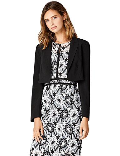 TRUTH & FABLE Damen Blazer mit verkürzter Silhouette, Schwarz (Black), Medium