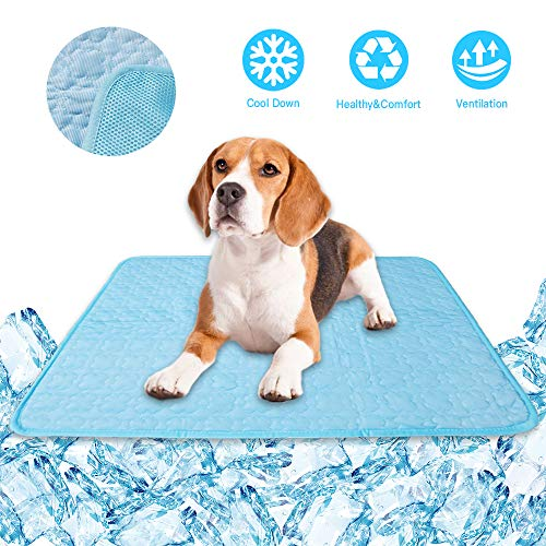 KALINCO Cooling Mat Pet for Dogs Cats, Self Cool Pads, Portable and Washable Pet Cooling Blanket (4028in, Blue)
