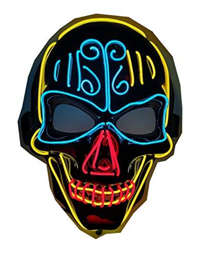 Máscara LED de calavera de Halloween, EL intermitente Rave iluminada por miedo purga, 3 colores y 3 modos