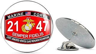 Veteran Pins Marine Corps Military Light Armored Vehicle LAV Repairer Technician MOS 2147 USMC US Marine Corps Steel Metal 0.75