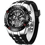 GOLDEN HOUR Luxury Military Sports Men's Watches 3ATM Waterproof, Stopwatch, Date and Date, Alarm, Luminous Digital Analog Wrist Watch with Rubber Band in Silver Black