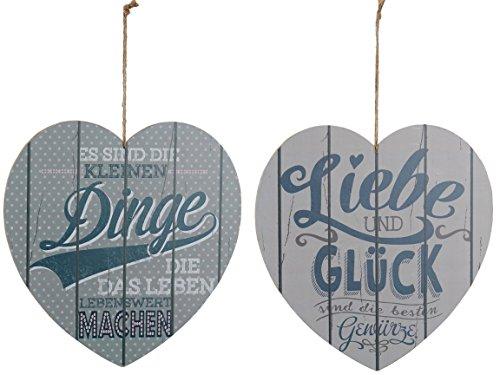 Bada Bing 2er Set Holzschild Herz 30 x 31 CM Bild Plankenschild Schild Wandbild Motivation Spruch...