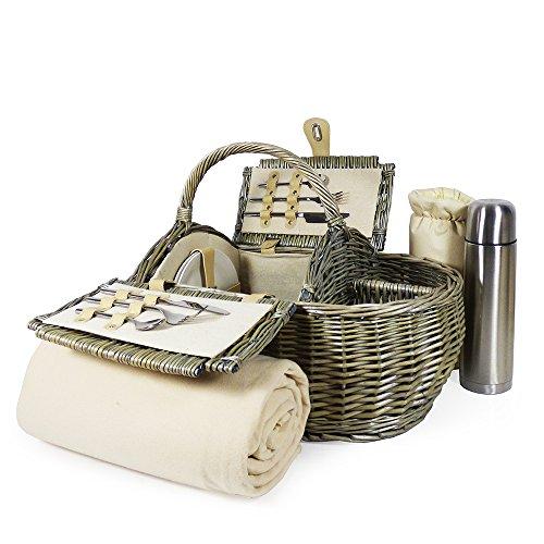 Luxus- oder Picknickkorb & Zubehör –-Kollektion, Qualität und mit Fleece-Picknick-Decke, Edelstahl Flachmann–Geschenkideen für Väter, Valentinstag, Muttertag, Geburtstag, Hochzeit, Jahrestag und
