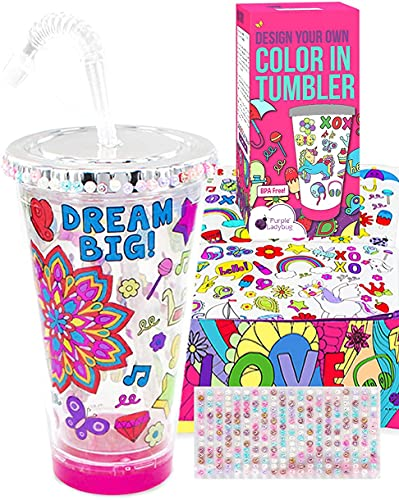 Purple Ladybug Tumbler for Girls Craft Kit with Color In Designs & Bright Markers - BPA Free Kids Tumbler with Lid & Straw - Birthday or Holiday Gift Idea for Girl, Fun DIY Arts & Crafts Activity