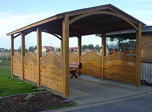 Carport Alaska Dach Jardinion Braun 614 x 312 x 292cm(LxBxH), Bausatz, Wetterfest, Hochwertiges Holz
