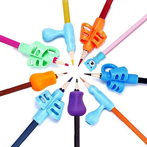 Impugnatura Matita Bambini, 9 Pezzi Supporto Ergonomico per Correzione Postura Strumento di Scrittura per Bambini Studenti Adulti Anziani e Destri e Mancini