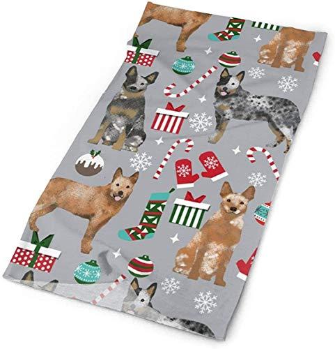 NA Australische vee hond rode en blauwe Heeler hond ras kerst pepermunt Sticks presenteert sneeuwvlokken stof grijze hoofdbanden Bandana Cap sjaal gezicht masker hals Gaiter hoofddoek zon UV-bescherming