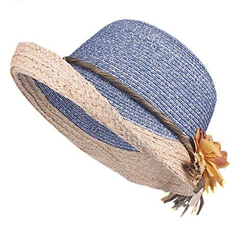 Sombrero para El Sol Sombrero De Verano para Mujer Gorra De Paja De Rafia Señoras De ala Grande Sombrero para El Sol 58Cm Azul