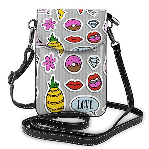 Generic Set mit modischen Aufnähern, Abzeichen und Aufklebern, kleine Umhängetaschen, Handtasche, Handtasche – Frauen PU-Leder Handtasche mit verstellbarem Riemen für den Alltag
