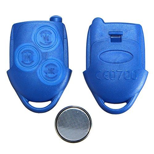 Viviance 3 Botón Azul Llave Remota Caso Fob con Batería para Ford Transit Mk7
