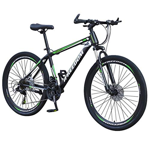 Islandse Mens/Junior Carbon Steel Full Mountain Bike, 21 Speed Bicycle with ATB Saddle, Stone Mountain 26 Inch Wheels, Front/Rear Linear Brakes, Durable/Comfortable (Black & Green)