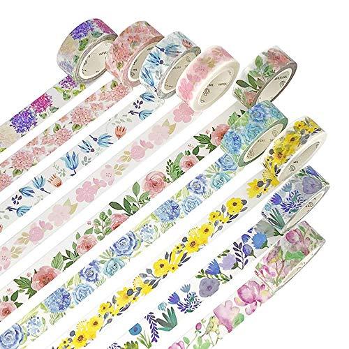 NLR 花と植物 マスキング 和紙 テープ セット [歳花紀] 9ロール | 幅15mm | スクラップブック、箇条書き ジャーナル、フォトフレーム 用 美術 工芸