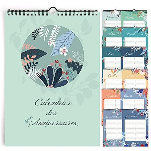Calendario perpetuo compleanno da parete francese per famiglia, ufficio, bambini (Flowers)