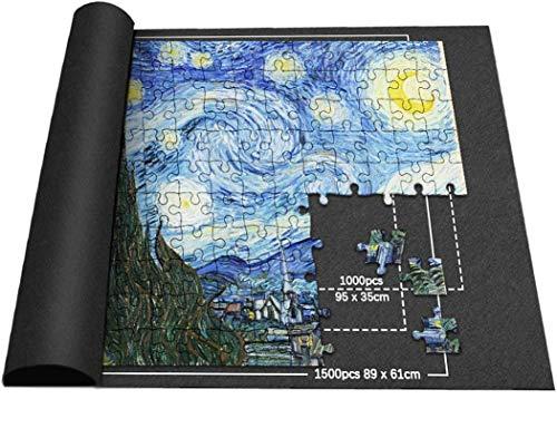 Puzzlematte für 1000/1500 Puzzle Teile, Puzzlerolle, Puzzleunterlage, Puzzle Pad, Puzzleteppich - Schwarz