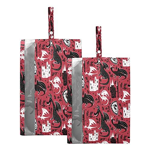 F17 - Borsa da viaggio per scarpe da viaggio con dinosauro, con animali, con fiori, impermeabile, portatile, leggera, borsa da viaggio per uomini e donne, 2 pezzi