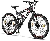 Licorne Bike Strong 2D Premium Mountain Bike Bicicletta per ragazzi, ragazze, donne e uomini – Freno a disco anteriore e posteriore – 21 marce – Sospensione completa (nero/rosso, 27,5)