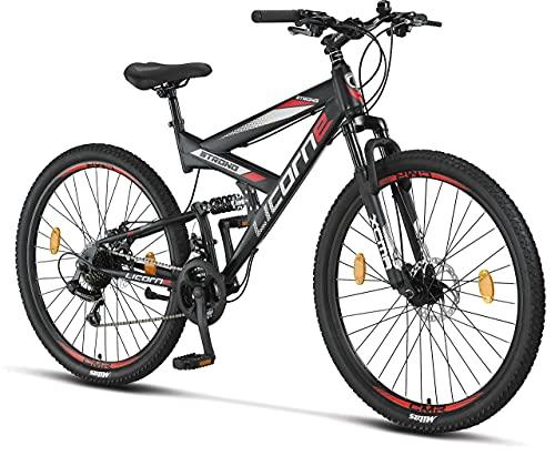 """Licorne Bike Strong Vélo Tout Terrain 2D de qualité supérieure 27,5"""" pour garçon Fille Femme et Homme avec Frein à Disque Avant et arrière 21 Vitesses dérailleur Suspension complète"""
