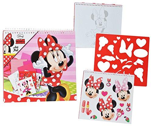 alles-meine.de GmbH XL Malbuch / Malblock - mit Schablonen + Sticker Aufkleber + Buntpapier - Disney Minnie Mouse - Malvorlagen zum Ausmalen Malspaß - für Mädchen Kinder Maus / M..