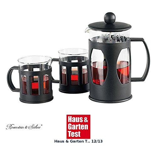 Rosenstein & Söhne French Press Teebereiter: Kaffee- & Teebereiter Set mit 2 Tassen, 600ml (Teeaufbereiter)