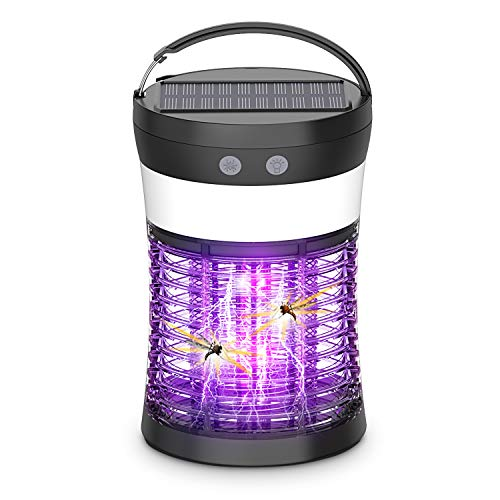 Bug Zapper Mosquito Killer Lamp,OKK Solar Operated and Battery Powered Electric Mosquito Zapper with Rechargeable Waterproof Insect Fly Pest Attractant Trap Repellent for Outdoor and Indoor [3-in-1]