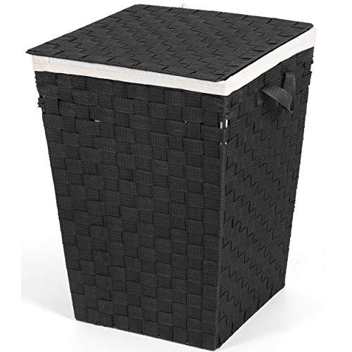 HYNAWIN Rectangular Laundry Hamper Handwoven Clothes Storage Basket Foldable Laundry Basket with Removable Washable Liner Bag for Bedroom, Dorm Room (Black)