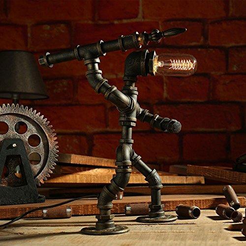 Rishx Kreative Eisen Wasserleitung Loft Tischlampe Edison Industrie Retro Desktop Licht E27 Kaffee Bar Roboter Schreibtisch Laterne Schmiedeeisen Schlafzimmer Nachttischlampe