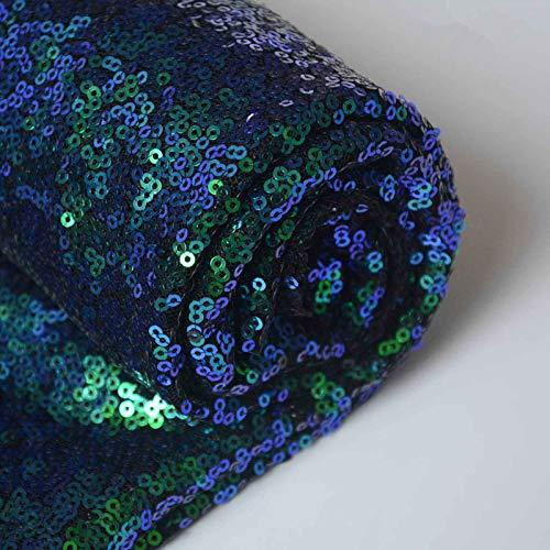 ShinyBeauty Pailletten-Stoff Meterware Schwarz 1 Meter Sparkly Stoff glitzernder Stoff, Pailletten-Stoff (1 Meter, Pfauen grün)