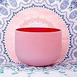 ENERGYSOUND Frosted C Root Chakra Cuenco de canto de cristal de cuarzo de color rojo 25 cm ---- Terapia de yoga Curación con sonido
