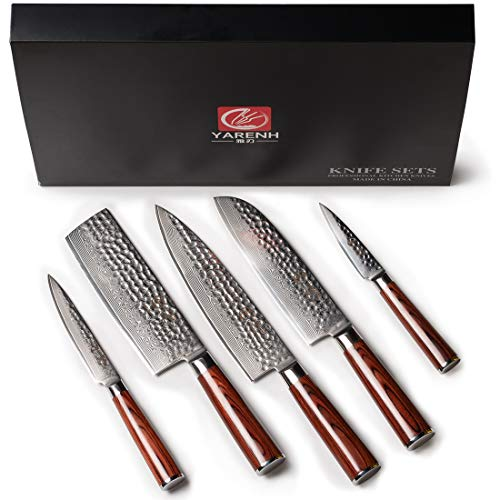Kitchen Knife Set Professional 5 Piece - Yarenh Chef Knife Set - Japanese High Carbon Damascus Steel Blade - Pakka Wood Handle - Gift Box Packaging - Sharp Vegetable Knives Sets HYZ-Series