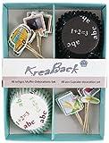 KreaBack 48-teiliges Muffin Deko Set/Muffin Papierförmchen/Cupcake Deko Förmchen mit Motiv Schule für Einschulung, Zeugnis, Schulabschluss