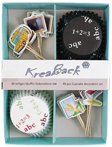 KreaBack 48-teiliges Muffin Deko Set I Muffin Papierförmchen I Cupcake Deko Förmchen mit Motiv Schule für Einschulung, Zeugnis, Schulabschluss
